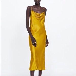 Zara Gold Satin Scoopneck Midi Dress